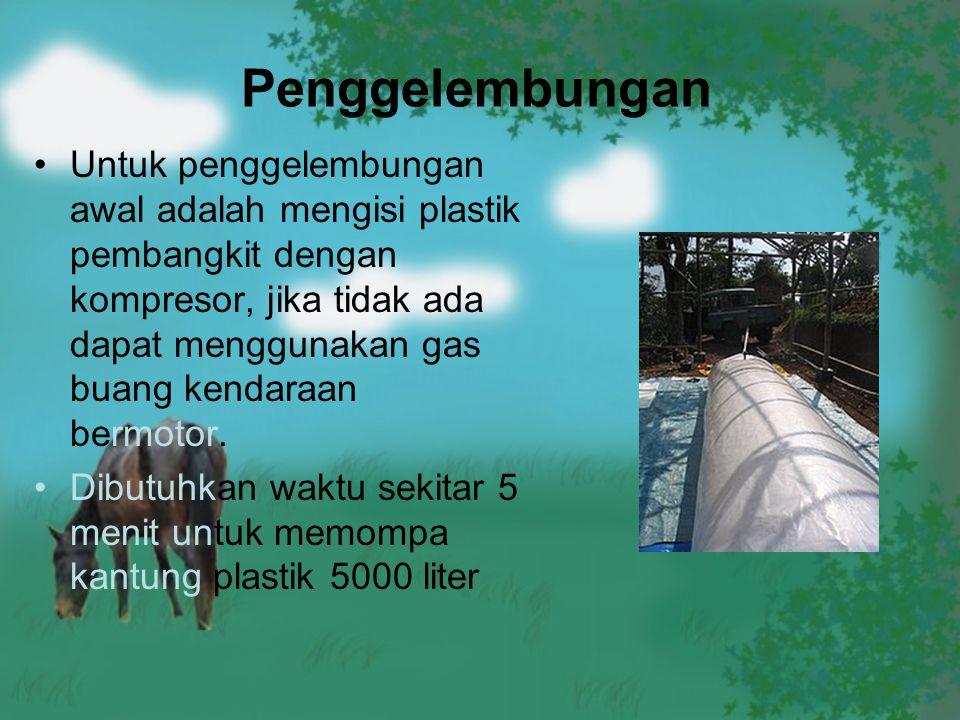 Penggelembungan Untuk penggelembungan awal adalah mengisi plastik pembangkit dengan kompresor, jika tidak ada dapat menggunakan gas buang kendaraan be