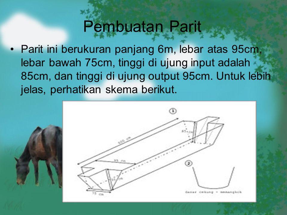 Pembuatan Parit Parit ini berukuran panjang 6m, lebar atas 95cm, lebar bawah 75cm, tinggi di ujung input adalah 85cm, dan tinggi di ujung output 95cm.