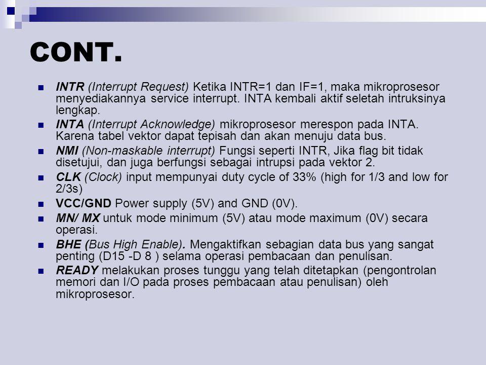 INTR (Interrupt Request) Ketika INTR=1 dan IF=1, maka mikroprosesor menyediakannya service interrupt. INTA kembali aktif seletah intruksinya lengkap.