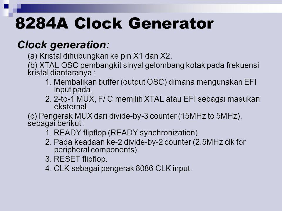 8284A Clock Generator Clock generation: (a) Kristal dihubungkan ke pin X1 dan X2. (b) XTAL OSC pembangkit sinyal gelombang kotak pada frekuensi krista