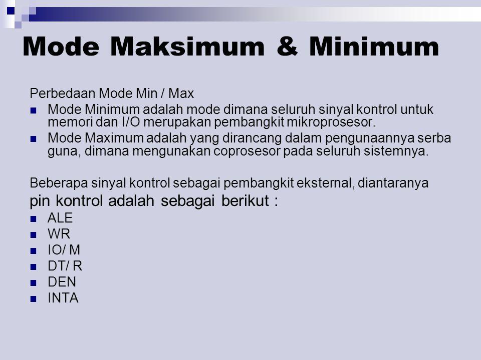 Mode Maksimum & Minimum Perbedaan Mode Min / Max Mode Minimum adalah mode dimana seluruh sinyal kontrol untuk memori dan I/O merupakan pembangkit mikroprosesor.