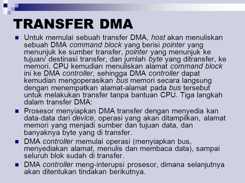TRANSFER DMA Untuk memulai sebuah transfer DMA, host akan menuliskan sebuah DMA command block yang berisi pointer yang menunjuk ke sumber transfer, pointer yang menunjuk ke tujuan/ destinasi transfer, dan jumlah byte yang ditransfer, ke memori.