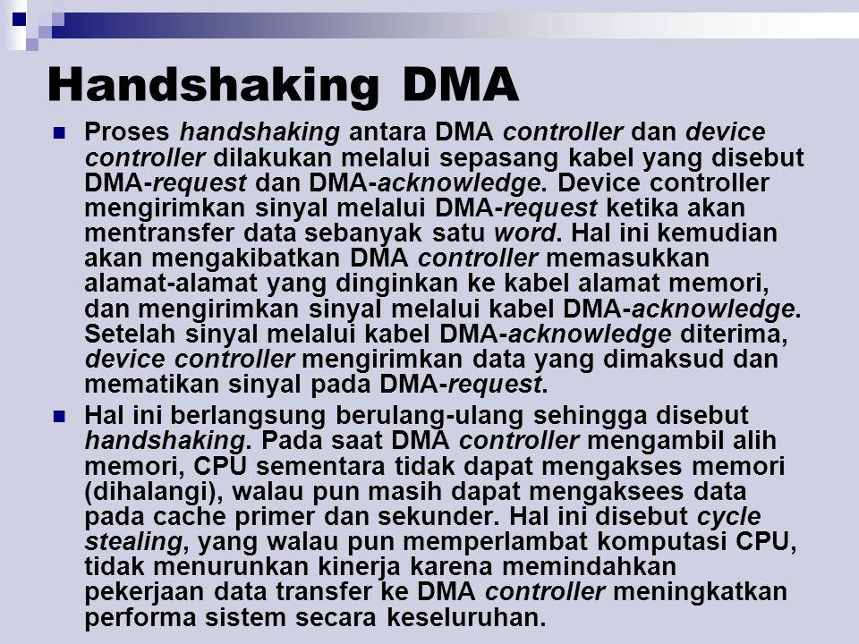 Handshaking DMA Proses handshaking antara DMA controller dan device controller dilakukan melalui sepasang kabel yang disebut DMA-request dan DMA-ackno