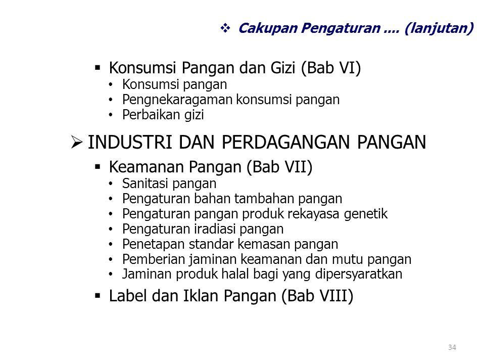  Konsumsi Pangan dan Gizi (Bab VI) Konsumsi pangan Pengnekaragaman konsumsi pangan Perbaikan gizi  INDUSTRI DAN PERDAGANGAN PANGAN  Keamanan Pangan (Bab VII) Sanitasi pangan Pengaturan bahan tambahan pangan Pengaturan pangan produk rekayasa genetik Pengaturan iradiasi pangan Penetapan standar kemasan pangan Pemberian jaminan keamanan dan mutu pangan Jaminan produk halal bagi yang dipersyaratkan  Label dan Iklan Pangan (Bab VIII) 34  Cakupan Pengaturan....