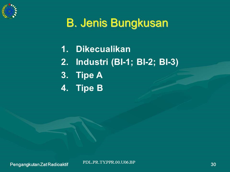 PDL.PR.TY.PPR.00.U06.BP Pengangkutan Zat Radioaktif30 B. Jenis Bungkusan 1. Dikecualikan 2. Industri (BI-1; BI-2; BI-3) 3. Tipe A 4. Tipe B
