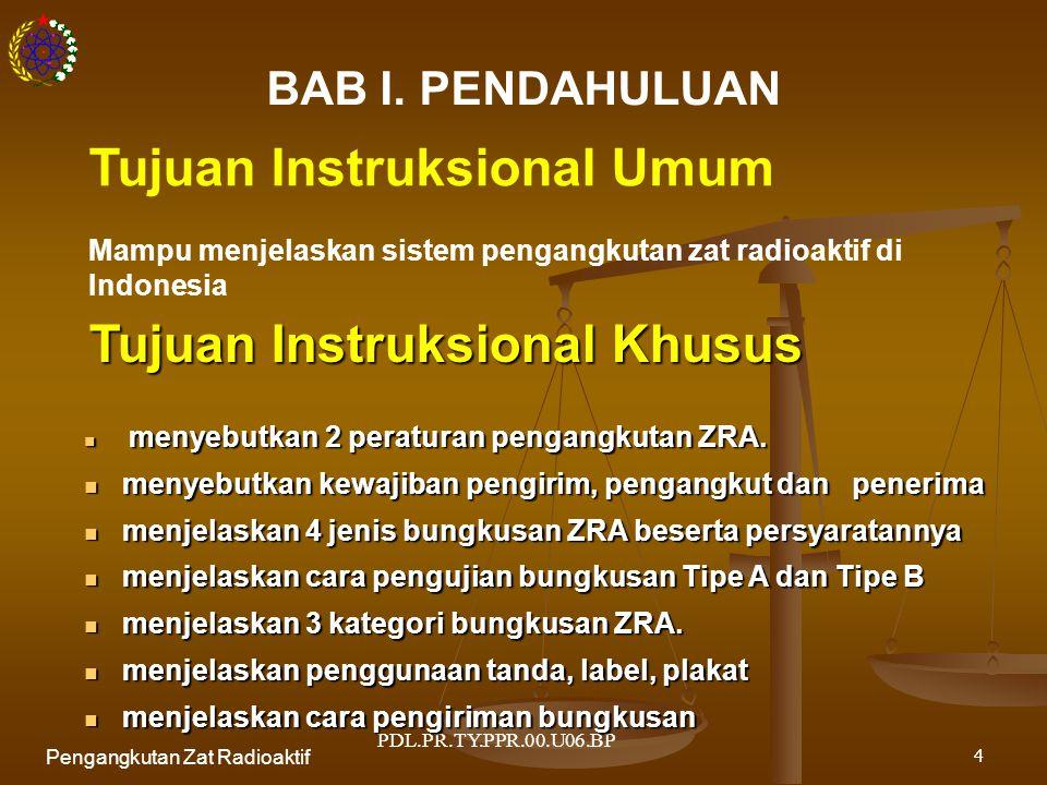PDL.PR.TY.PPR.00.U06.BP Pengangkutan Zat Radioaktif5 Pengangkutan Zat Radioaktif di Indonesia Peraturan Pemerintah No.26 Tahun 2002 SK Kepala Bapeten No.04/Ka.Bapeten/V-99 Dasar Hukum