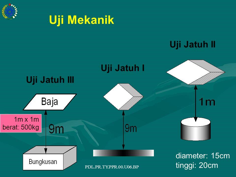 PDL.PR.TY.PPR.00.U06.BP Uji Jatuh I Uji Jatuh II Uji Jatuh III diameter: 15cm tinggi: 20cm 1m x 1m berat: 500kg Uji Mekanik