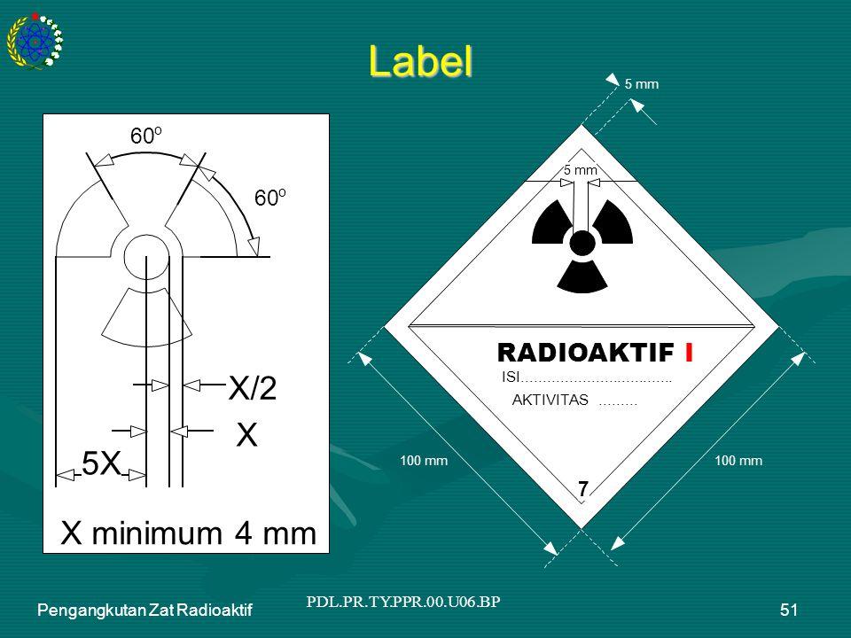 PDL.PR.TY.PPR.00.U06.BP Pengangkutan Zat Radioaktif51 Label X/2 X 5X 60 o o X minimum 4 mm 5 mm 100 mm 5 mm RADIOAKTIF I ISI..........................