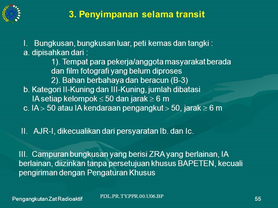 PDL.PR.TY.PPR.00.U06.BP Pengangkutan Zat Radioaktif55 3. Penyimpanan selama transit I. Bungkusan, bungkusan luar, peti kemas dan tangki : a. dipisahka