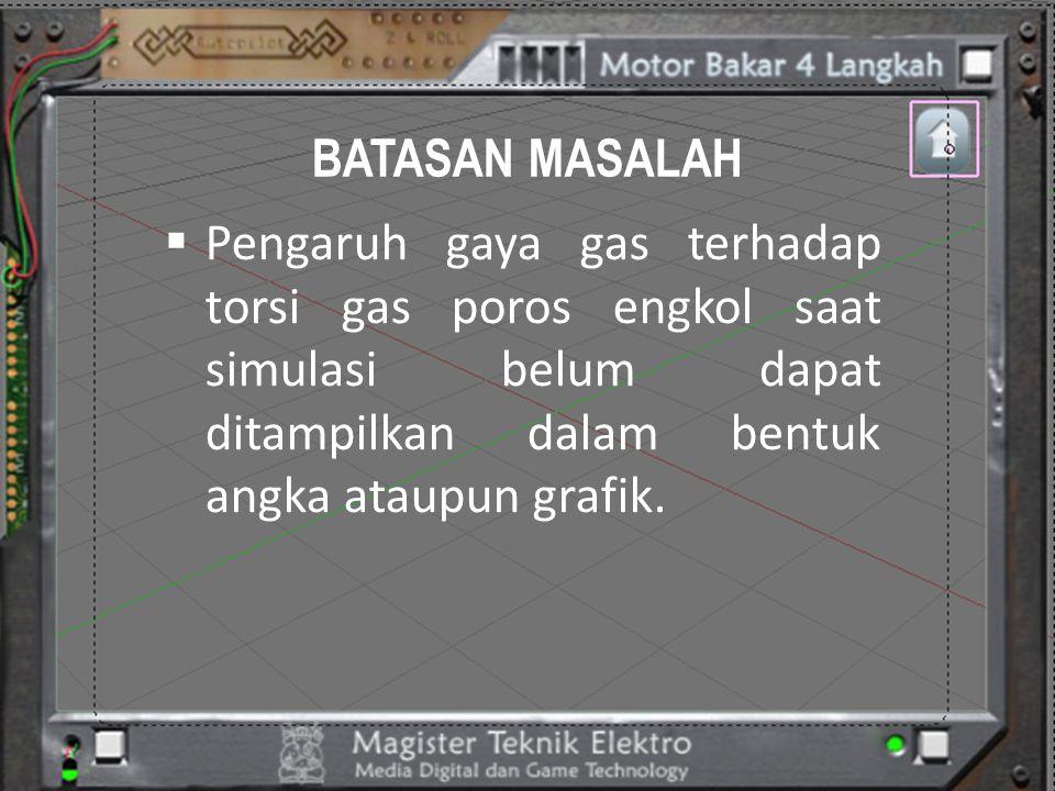BATASAN MASALAH  Pengaruh gaya gas terhadap torsi gas poros engkol saat simulasi belum dapat ditampilkan dalam bentuk angka ataupun grafik.