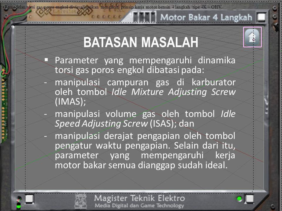 BATASAN MASALAH  Parameter yang mempengaruhi dinamika torsi gas poros engkol dibatasi pada: -manipulasi campuran gas di karburator oleh tombol Idle M