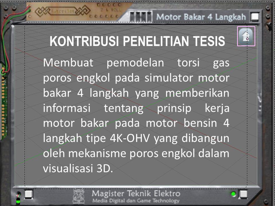 KONTRIBUSI PENELITIAN TESIS Membuat pemodelan torsi gas poros engkol pada simulator motor bakar 4 langkah yang memberikan informasi tentang prinsip ke