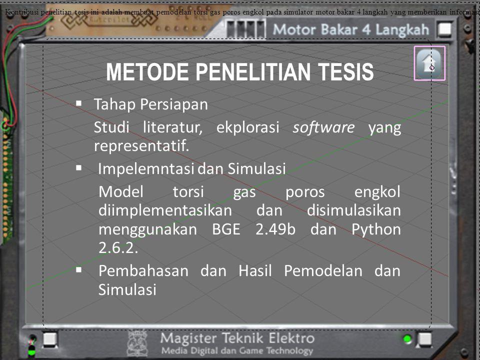 METODE PENELITIAN TESIS  Tahap Persiapan Studi literatur, ekplorasi software yang representatif.  Impelemntasi dan Simulasi Model torsi gas poros en