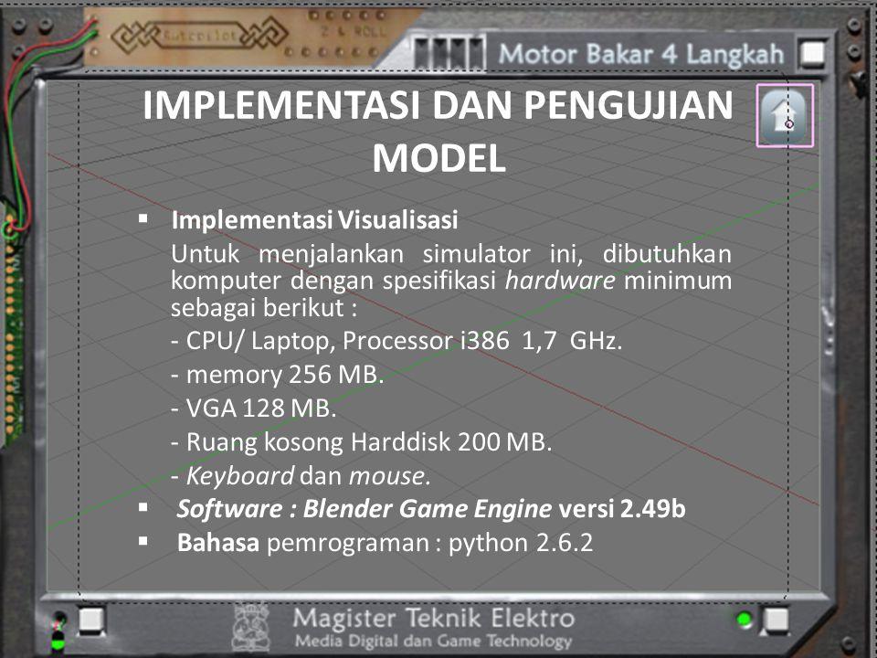 IMPLEMENTASI DAN PENGUJIAN MODEL  Implementasi Visualisasi Untuk menjalankan simulator ini, dibutuhkan komputer dengan spesifikasi hardware minimum s