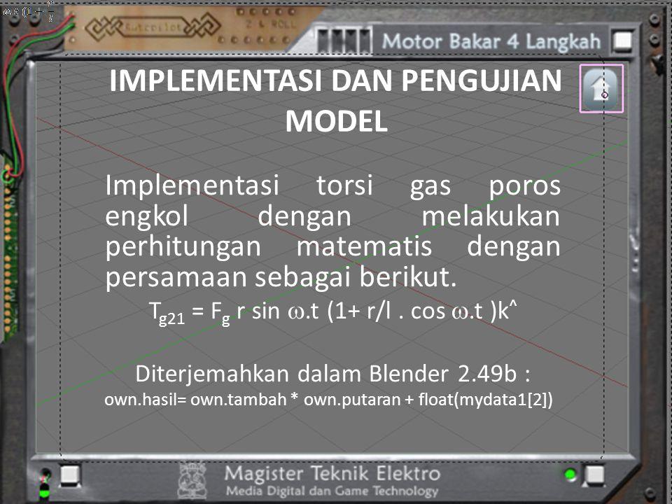 IMPLEMENTASI DAN PENGUJIAN MODEL Implementasi torsi gas poros engkol dengan melakukan perhitungan matematis dengan persamaan sebagai berikut. T g21 =