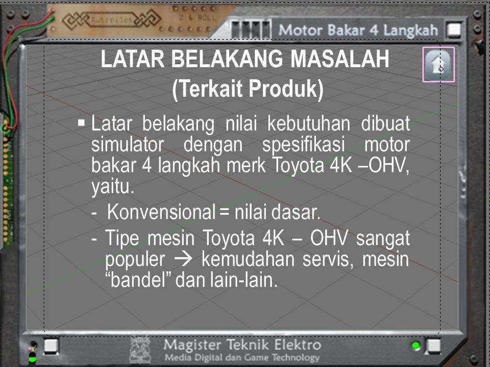 LATAR BELAKANG MASALAH (Terkait Produk)  Latar belakang nilai kebutuhan dibuat simulator dengan spesifikasi motor bakar 4 langkah merk Toyota 4K –OHV