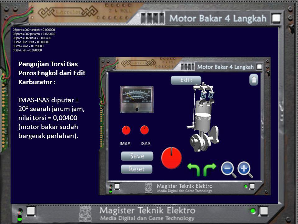 Pengujian Torsi Gas Poros Engkol dari Edit Karburator : IMAS-ISAS diputar  20 0 searah jarum jam, nilai torsi = 0,00400 (motor bakar sudah bergerak p