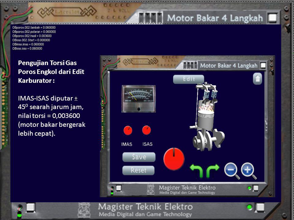 Pengujian Torsi Gas Poros Engkol dari Edit Karburator : IMAS-ISAS diputar  45 0 searah jarum jam, nilai torsi = 0,003600 (motor bakar bergerak lebih