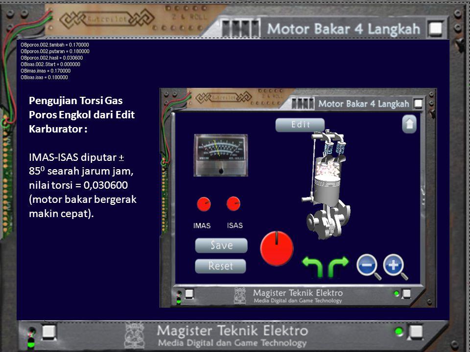 Pengujian Torsi Gas Poros Engkol dari Edit Karburator : IMAS-ISAS diputar  85 0 searah jarum jam, nilai torsi = 0,030600 (motor bakar bergerak makin