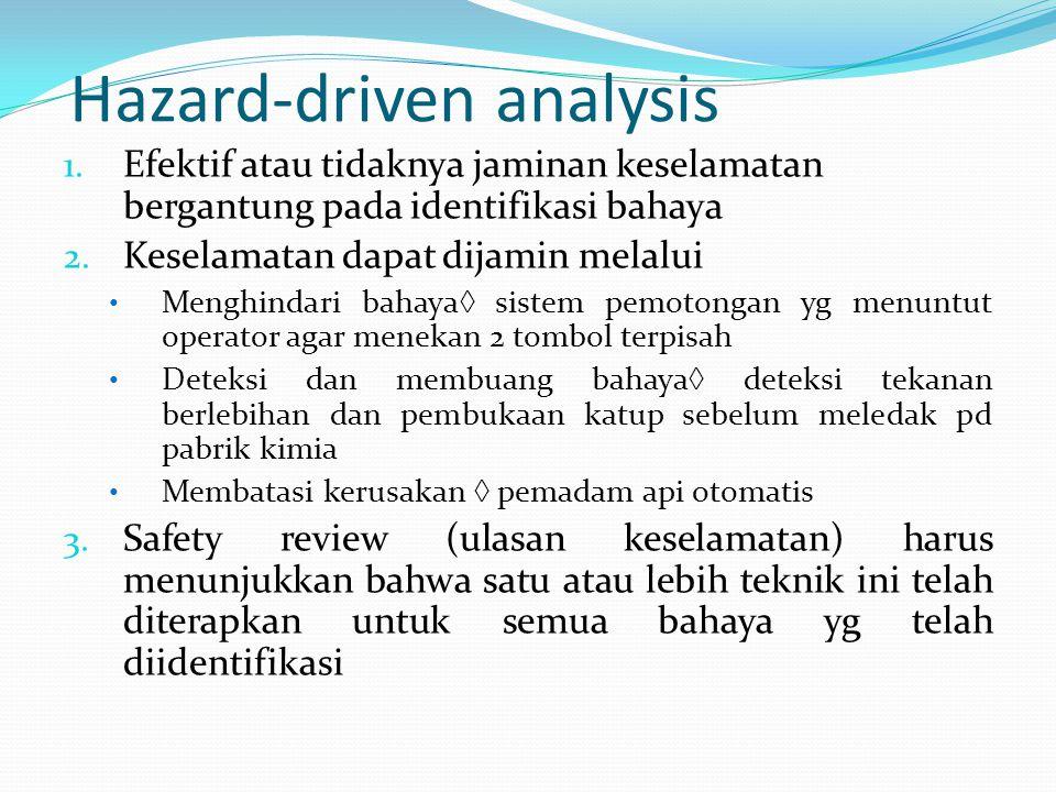 Hazard-driven analysis 1. Efektif atau tidaknya jaminan keselamatan bergantung pada identifikasi bahaya 2. Keselamatan dapat dijamin melalui Menghinda