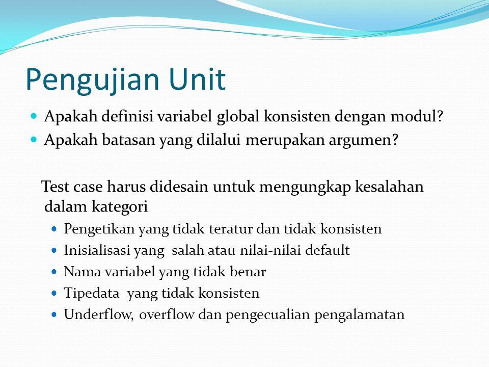 Pengujian Unit Apakah definisi variabel global konsisten dengan modul? Apakah batasan yang dilalui merupakan argumen? Test case harus didesain untuk m