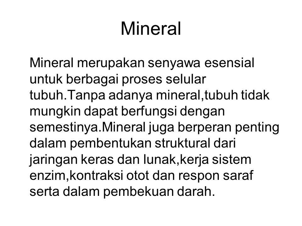 Macam-macam mineral yang diperlukan oleh tubuh