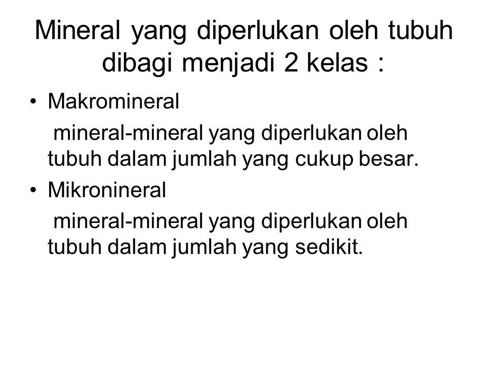Mineral Mineral merupakan senyawa esensial untuk berbagai proses selular tubuh.Tanpa adanya mineral,tubuh tidak mungkin dapat berfungsi dengan semesti