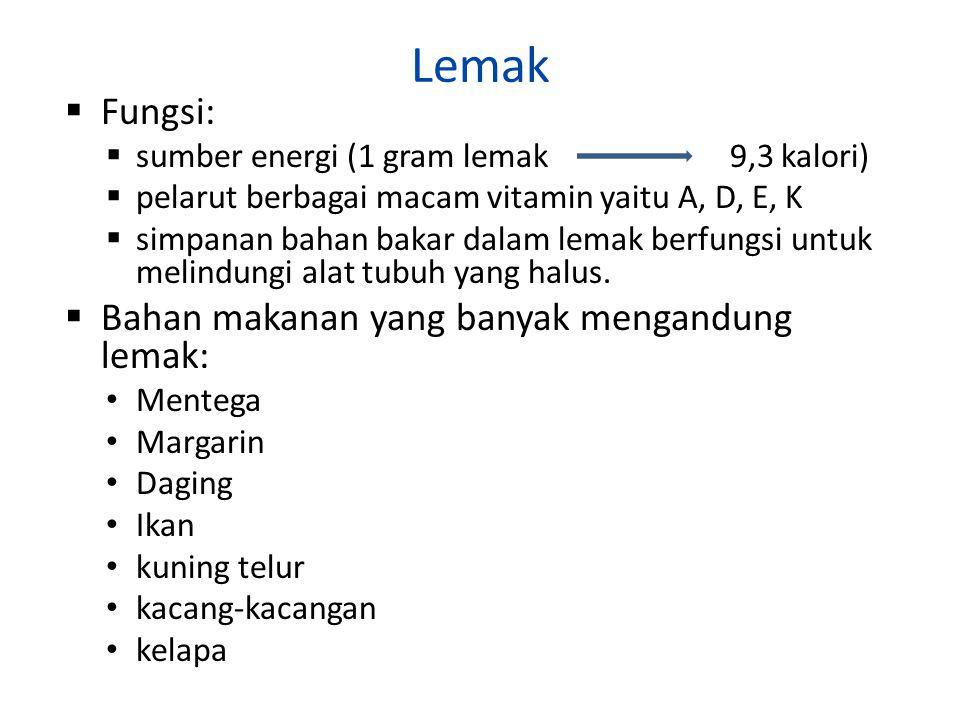 Lemak  Fungsi:  sumber energi (1 gram lemak 9,3 kalori)  pelarut berbagai macam vitamin yaitu A, D, E, K  simpanan bahan bakar dalam lemak berfung
