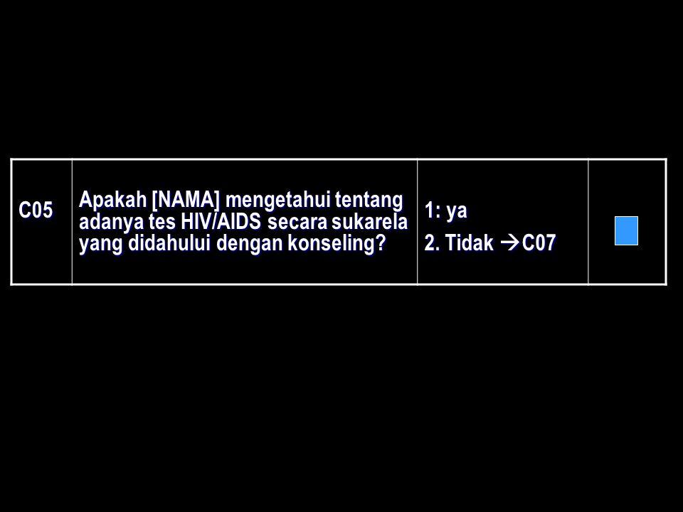 C05 Apakah [NAMA] mengetahui tentang adanya tes HIV/AIDS secara sukarela yang didahului dengan konseling? 1: ya 2. Tidak  C07