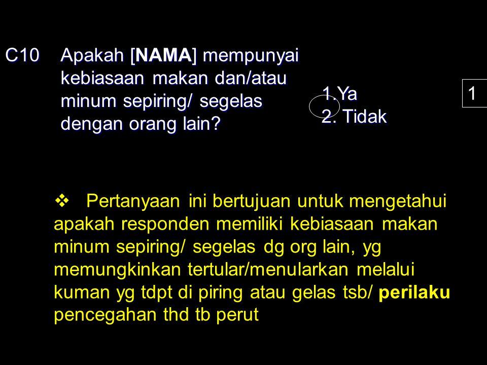 C10 Apakah [NAMA] mempunyai kebiasaan makan dan/atau minum sepiring/ segelas dengan orang lain? 1.Ya 2. Tidak 1  Pertanyaan ini bertujuan untuk menge