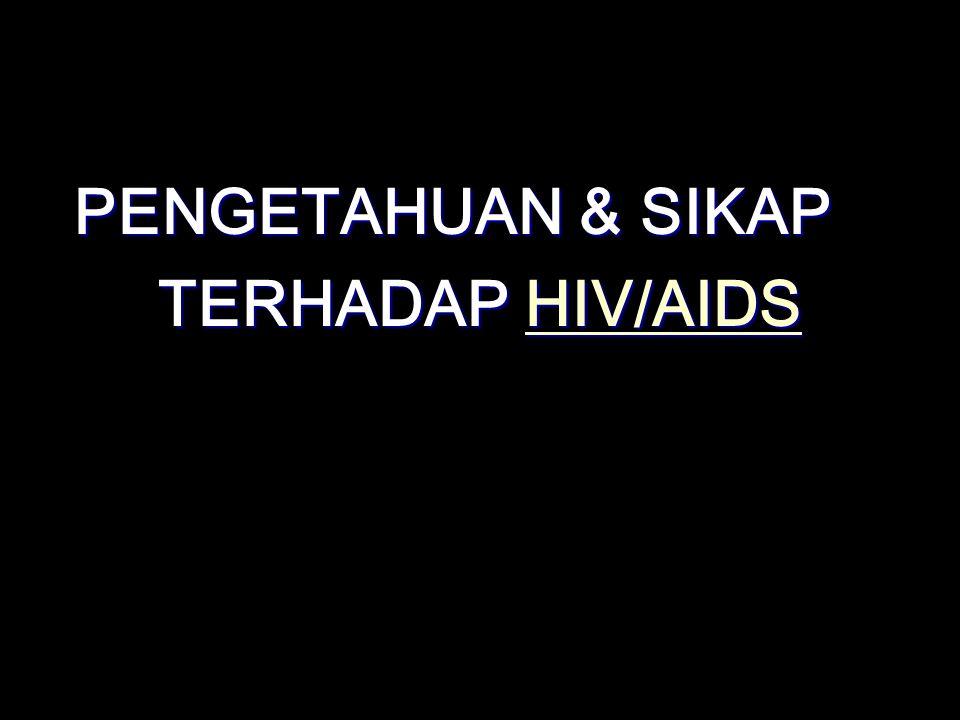 PERTANYAAN TTNG HIV/AIDS BERTUJUAN MEMPEROLEH INFORMASI TTNG TINGKAT PENGETAHUAN & SIKAP TTNG HAL-HAL YG TERKAIT AIDS SBB : 1.