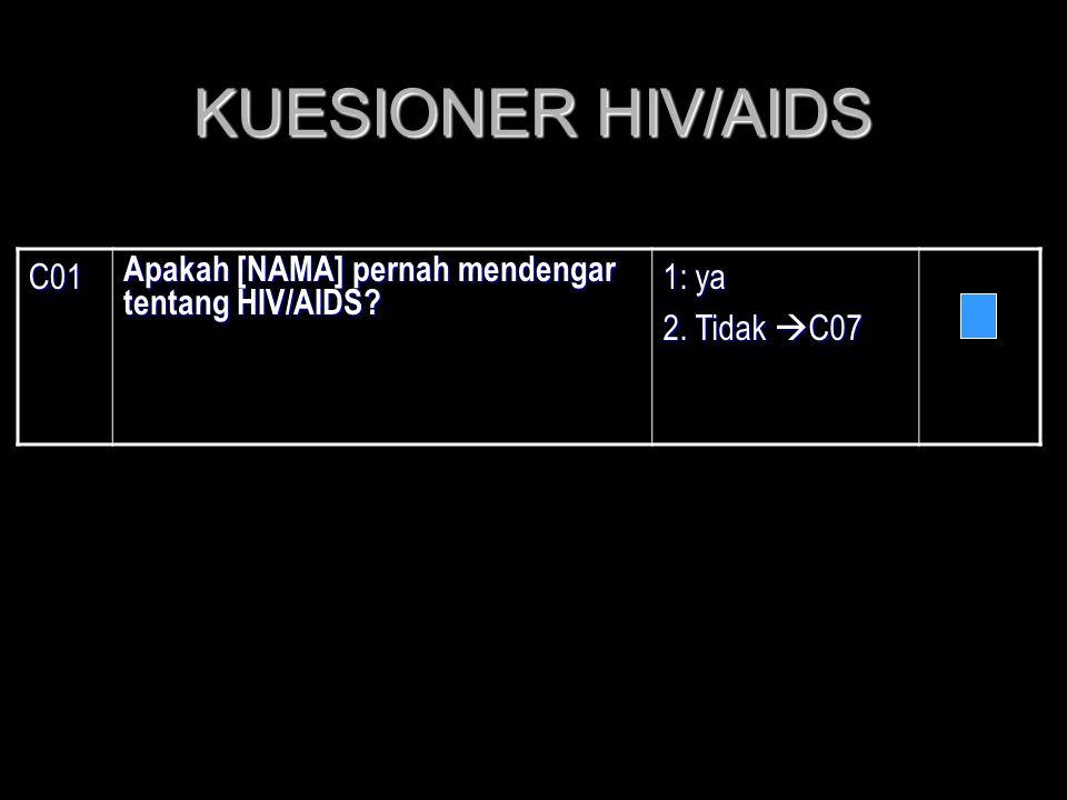 KUESIONER HIV/AIDS C01 Apakah [NAMA] pernah mendengar tentang HIV/AIDS? 1: ya 2. Tidak  C07