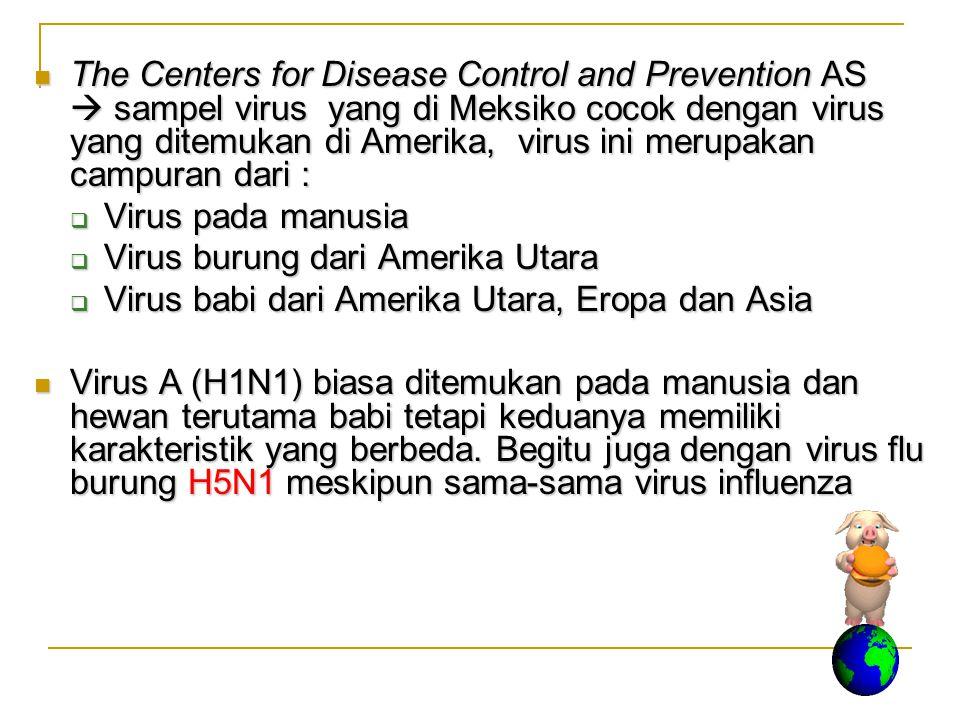 The Centers for Disease Control and Prevention AS  sampel virus yang di Meksiko cocok dengan virus yang ditemukan di Amerika, virus ini merupakan cam