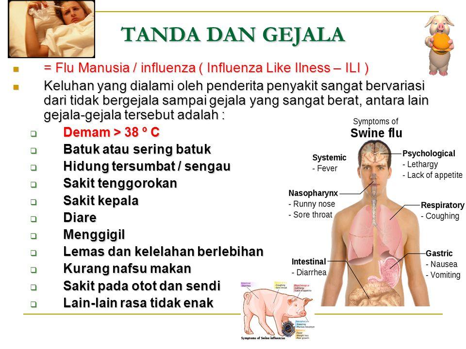 TANDA DAN GEJALA = Flu Manusia / influenza ( Influenza Like Ilness – ILI ) = Flu Manusia / influenza ( Influenza Like Ilness – ILI ) Keluhan yang dial