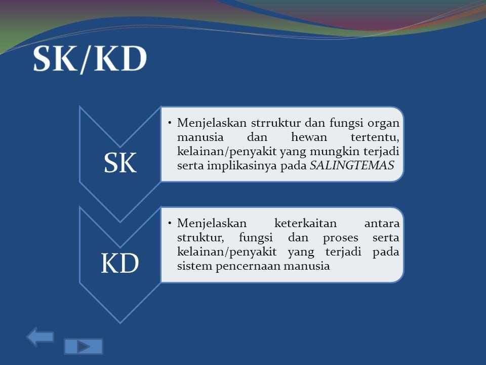 SK Menjelaskan strruktur dan fungsi organ manusia dan hewan tertentu, kelainan/penyakit yang mungkin terjadi serta implikasinya pada SALINGTEMAS KD Menjelaskan keterkaitan antara struktur, fungsi dan proses serta kelainan/penyakit yang terjadi pada sistem pencernaan manusia