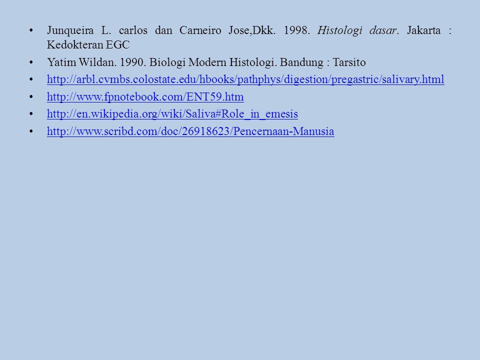Junqueira L. carlos dan Carneiro Jose,Dkk. 1998. Histologi dasar. Jakarta : Kedokteran EGC Yatim Wildan. 1990. Biologi Modern Histologi. Bandung : Tar