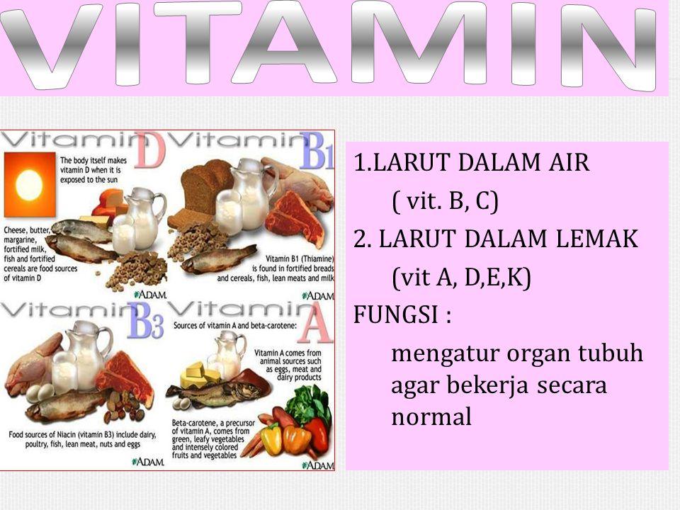 1.LARUT DALAM AIR ( vit. B, C) 2. LARUT DALAM LEMAK (vit A, D,E,K) FUNGSI : mengatur organ tubuh agar bekerja secara normal