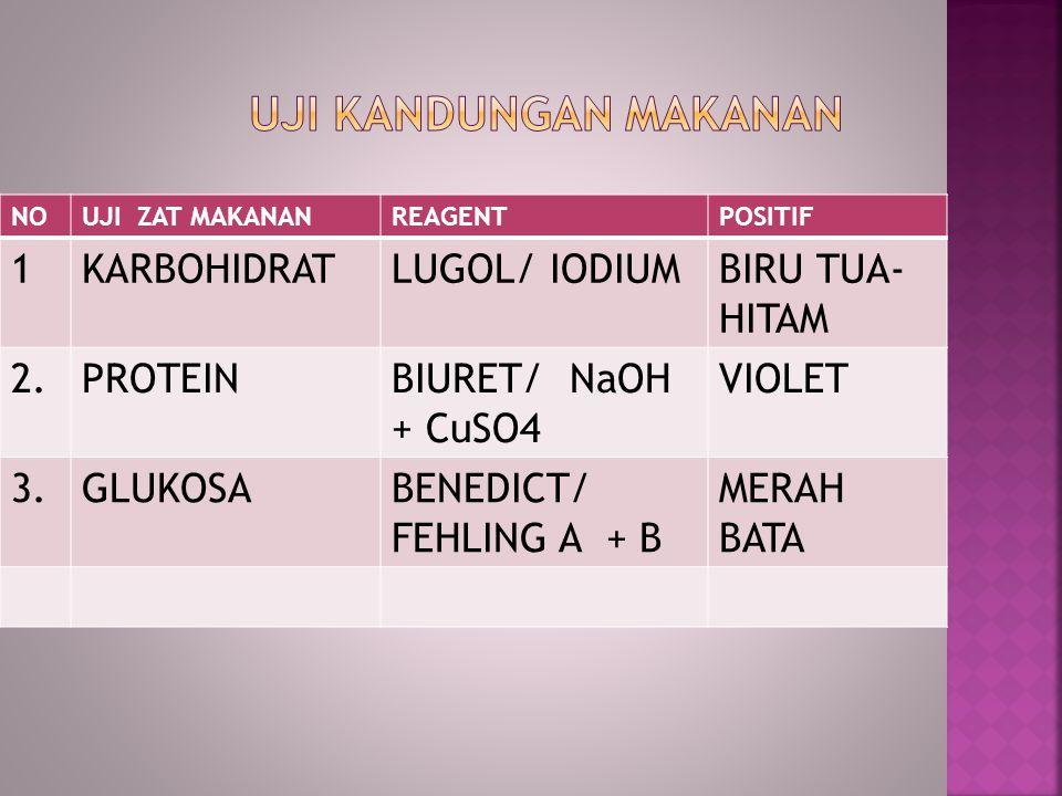 NOUJI ZAT MAKANANREAGENTPOSITIF 1KARBOHIDRATLUGOL/ IODIUMBIRU TUA- HITAM 2.PROTEINBIURET/ NaOH + CuSO4 VIOLET 3.GLUKOSABENEDICT/ FEHLING A + B MERAH B