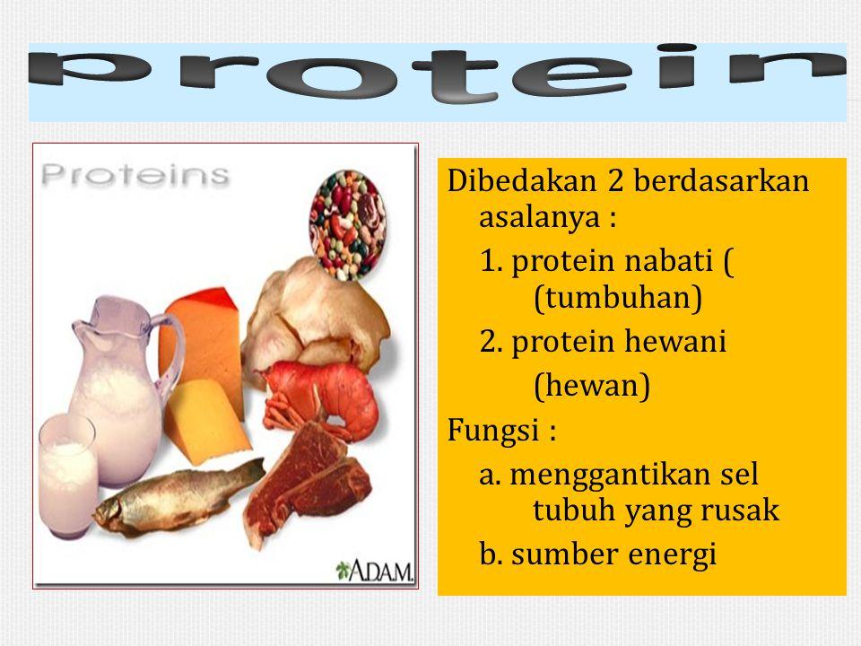 Dibedakan 2 berdasarkan asalanya : 1. protein nabati ( (tumbuhan) 2. protein hewani (hewan) Fungsi : a. menggantikan sel tubuh yang rusak b. sumber en