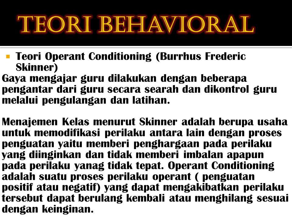  Teori Operant Conditioning (Burrhus Frederic Skinner) Gaya mengajar guru dilakukan dengan beberapa pengantar dari guru secara searah dan dikontrol guru melalui pengulangan dan latihan.