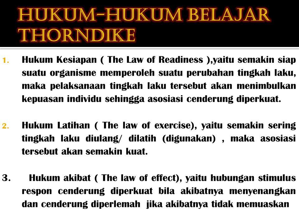 1. Hukum Kesiapan ( The Law of Readiness ),yaitu semakin siap suatu organisme memperoleh suatu perubahan tingkah laku, maka pelaksanaan tingkah laku t