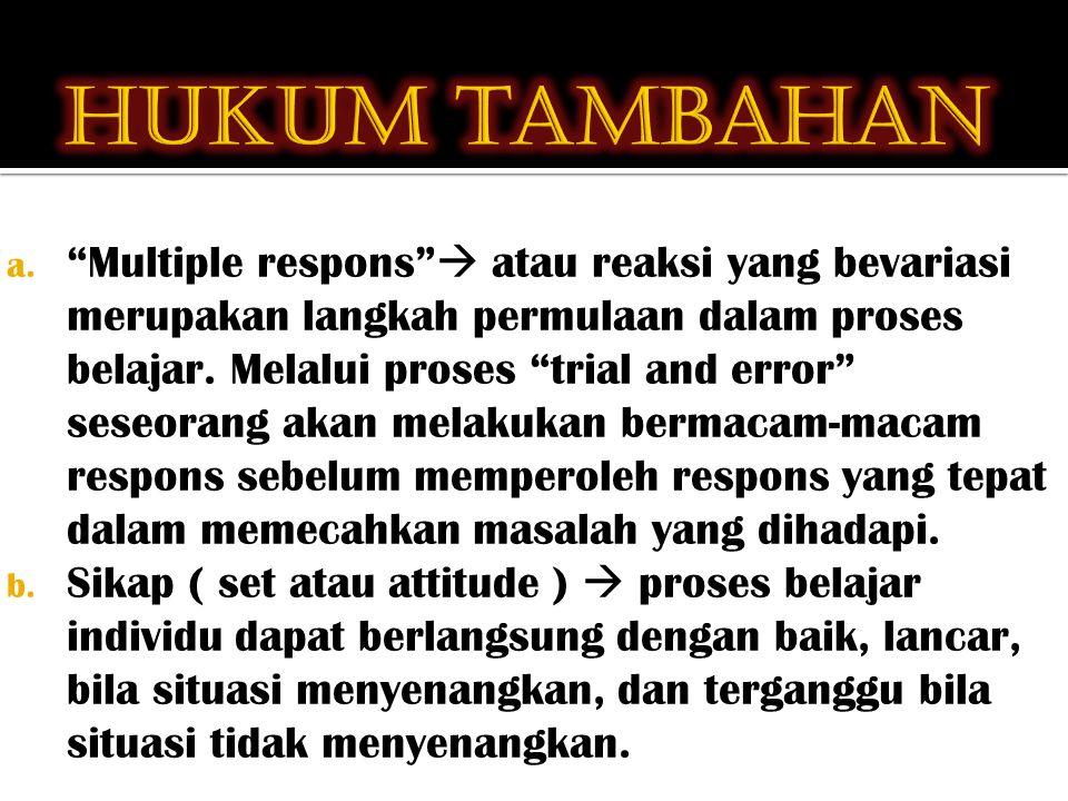 """a. """"Multiple respons""""  atau reaksi yang bevariasi merupakan langkah permulaan dalam proses belajar. Melalui proses """"trial and error"""" seseorang akan m"""