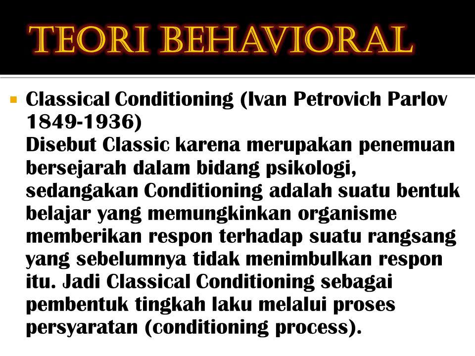  Classical Conditioning (Ivan Petrovich Parlov 1849-1936) Disebut Classic karena merupakan penemuan bersejarah dalam bidang psikologi, sedangakan Conditioning adalah suatu bentuk belajar yang memungkinkan organisme memberikan respon terhadap suatu rangsang yang sebelumnya tidak menimbulkan respon itu.