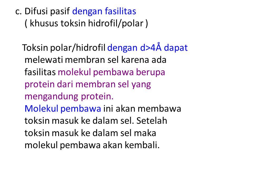 c. Difusi pasif dengan fasilitas ( khusus toksin hidrofil/polar ) Toksin polar/hidrofil dengan d>4Å dapat melewati membran sel karena ada fasilitas mo
