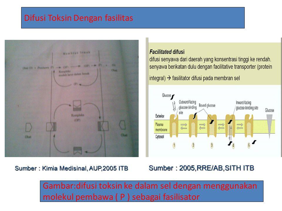 Gambar:difusi toksin ke dalam sel dengan menggunakan molekul pembawa ( P ) sebagai fasilisator Difusi Toksin Dengan fasilitas Sumber : 2005,RRE/AB,SIT