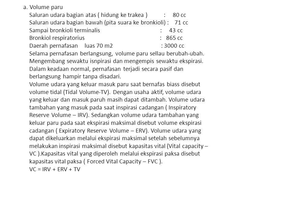 a. Volume paru Saluran udara bagian atas ( hidung ke trakea ) : 80 cc Saluran udara bagian bawah (pita suara ke bronkioli) : 71 cc Sampai bronkioli te
