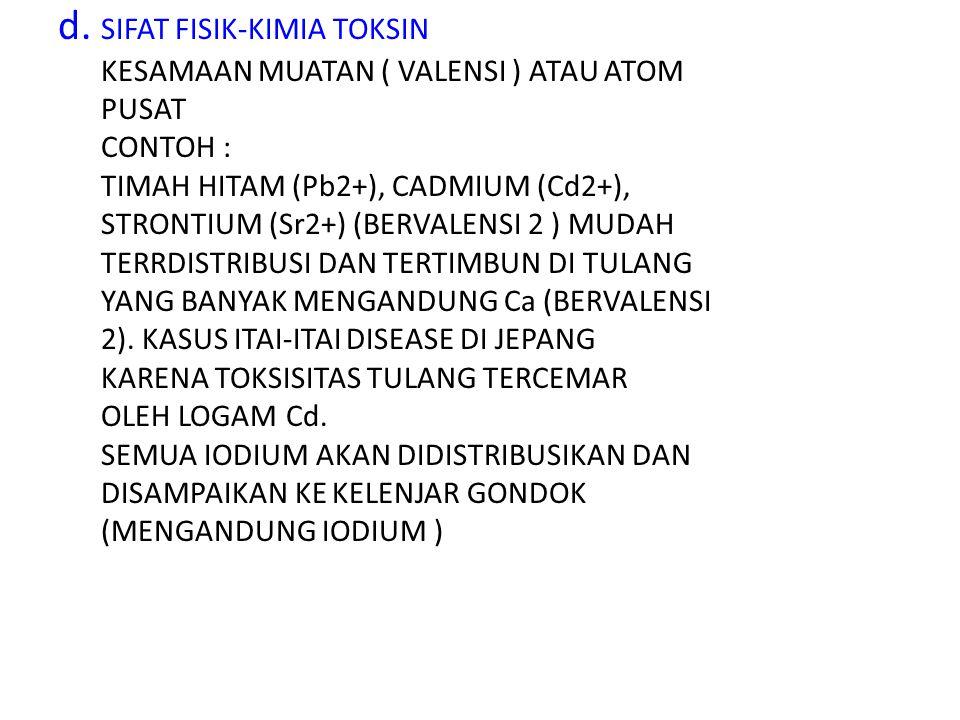 d. SIFAT FISIK-KIMIA TOKSIN KESAMAAN MUATAN ( VALENSI ) ATAU ATOM PUSAT CONTOH : TIMAH HITAM (Pb2+), CADMIUM (Cd2+), STRONTIUM (Sr2+) (BERVALENSI 2 )