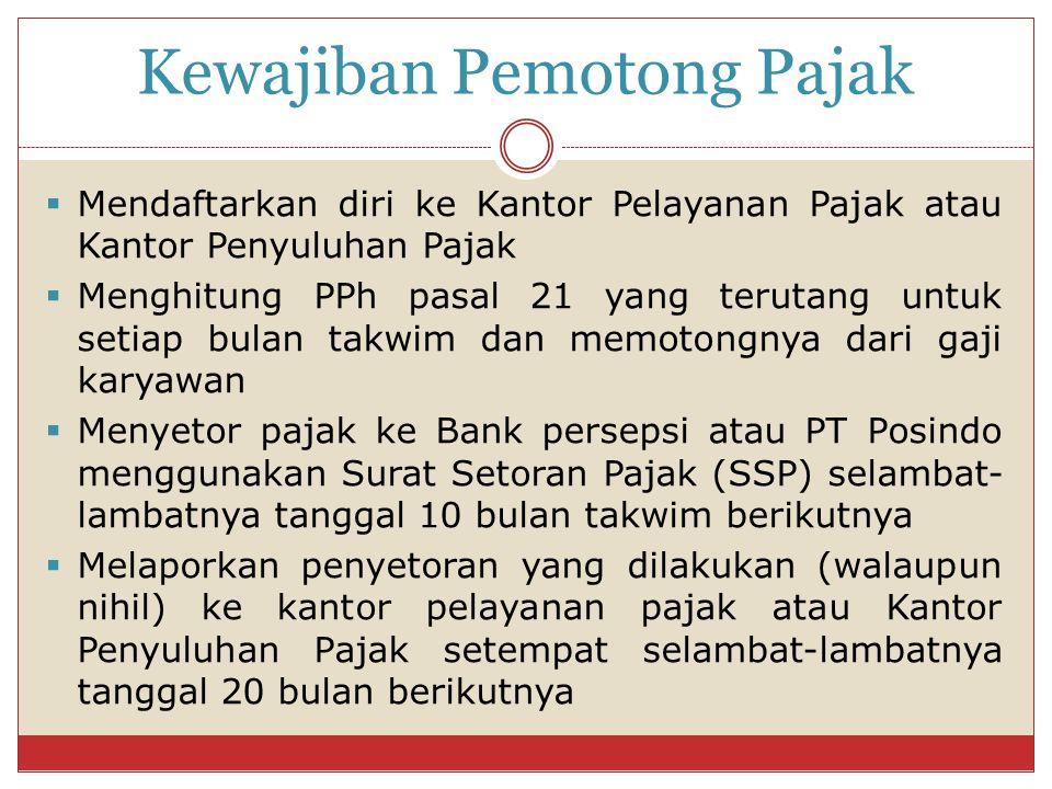 Kewajiban Pemotong Pajak  Mendaftarkan diri ke Kantor Pelayanan Pajak atau Kantor Penyuluhan Pajak  Menghitung PPh pasal 21 yang terutang untuk seti