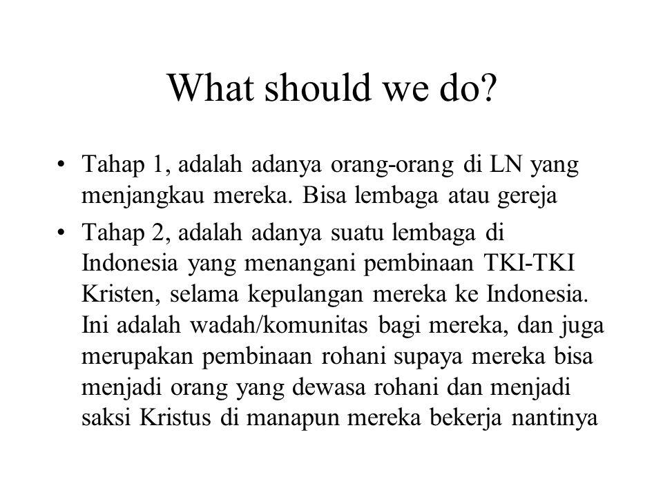 What should we do? Tahap 1, adalah adanya orang-orang di LN yang menjangkau mereka. Bisa lembaga atau gereja Tahap 2, adalah adanya suatu lembaga di I