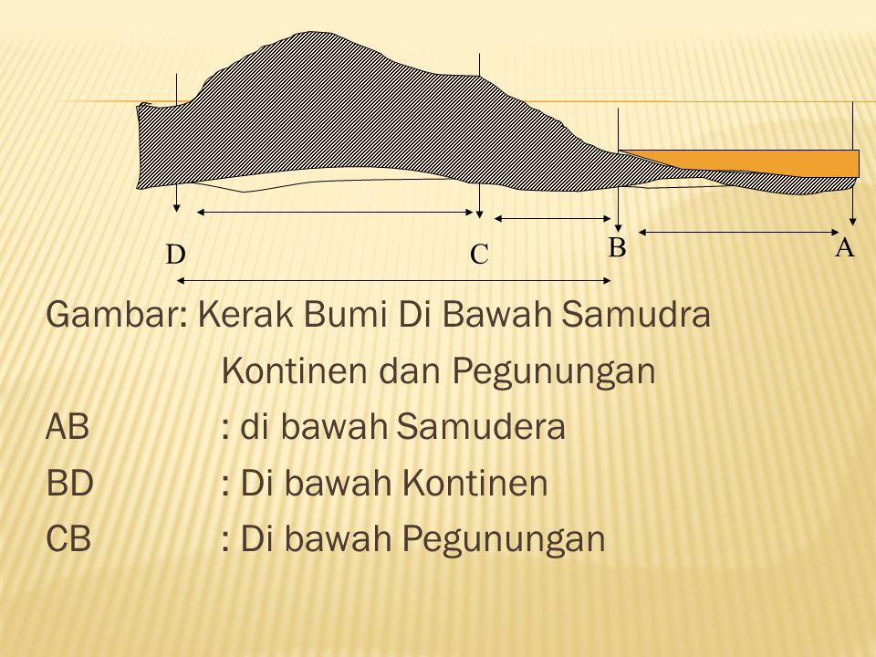 Gambar: Kerak Bumi Di Bawah Samudra Kontinen dan Pegunungan AB: di bawah Samudera BD: Di bawah Kontinen CB: Di bawah Pegunungan B A DC